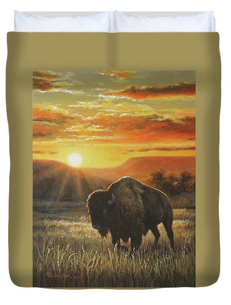 Duvet Cover featuring the painting Sunset In Bison Country by Kim Lockman