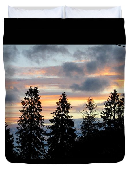 Sunset In Blue And Pink Duvet Cover
