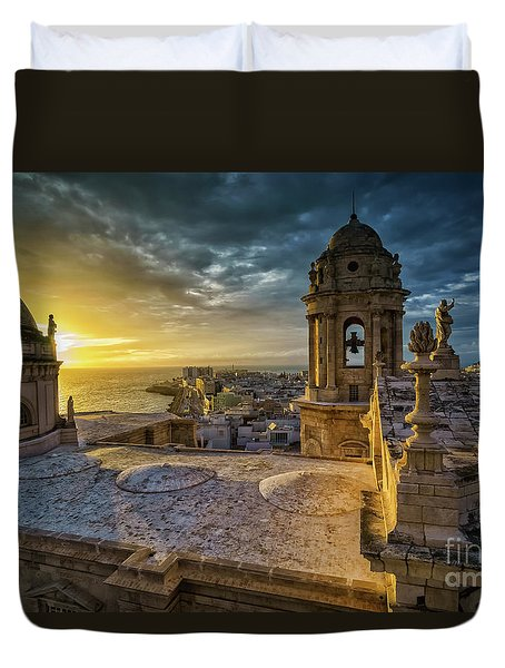 Duvet Cover featuring the photograph Sunset In Cadiz Cathedral View From Levante Tower Cadiz Spain by Pablo Avanzini