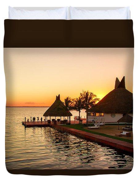 Sunset In Cancun Duvet Cover