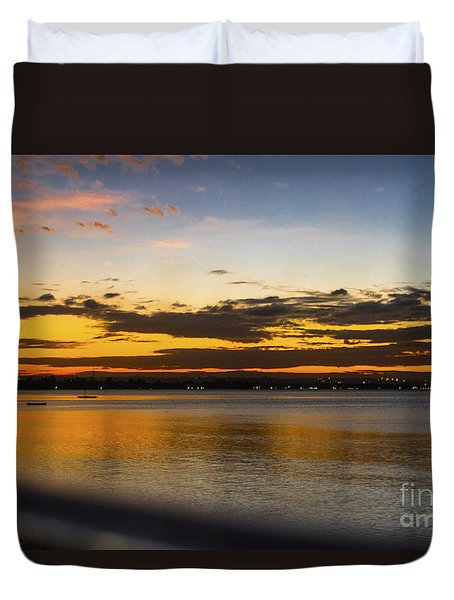 Duvet Cover featuring the photograph Sunset In Dar by Pravine Chester
