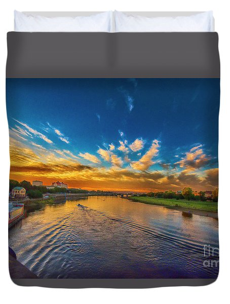 Sunset In Dresden Duvet Cover