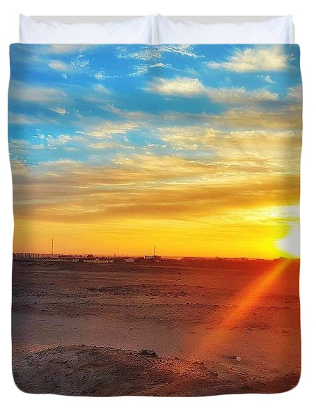 Sunset In Egypt Duvet Cover
