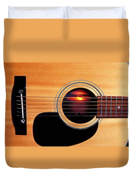 Sunset In Guitar Duvet Cover by Garry Gay