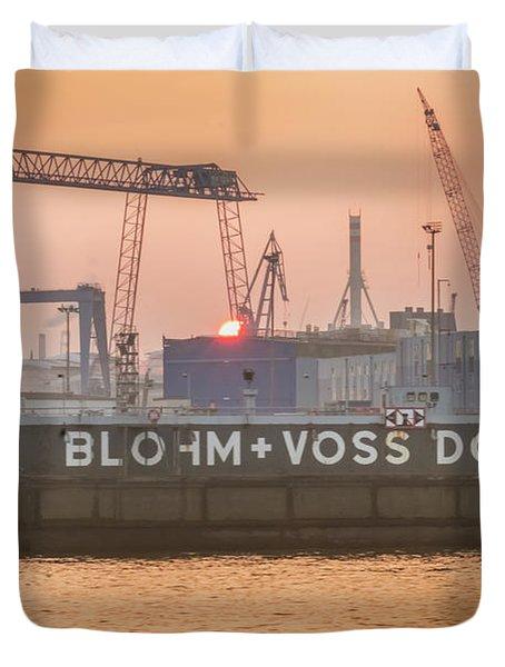 Sunset In Hamburg Port Germany Duvet Cover