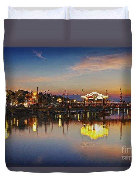 Sunset In Hoi An Vietnam Southeast Asia Duvet Cover
