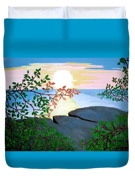 Duvet Cover featuring the painting Sunset In Jamaica by Stephanie Moore