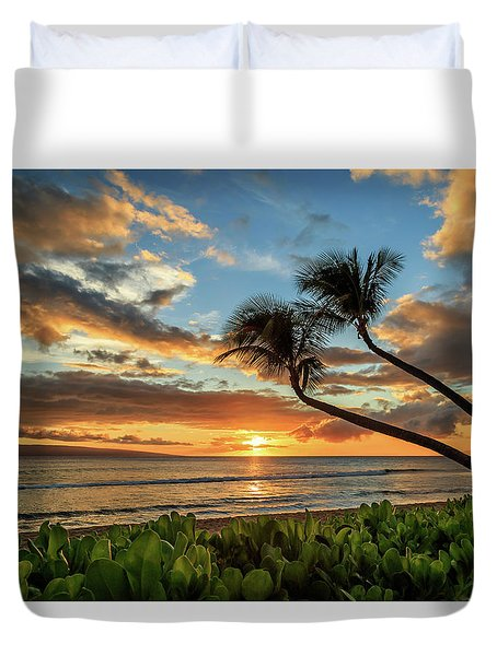 Duvet Cover featuring the photograph Sunset In Kaanapali by James Eddy