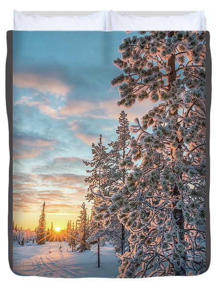 Sunset In Lapland Duvet Cover by Delphimages Photo Creations