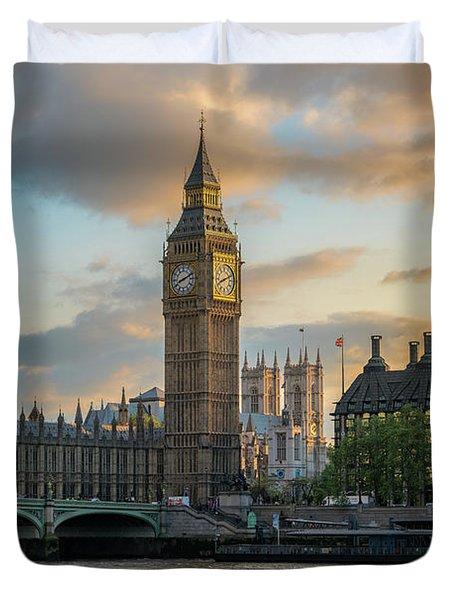 Sunset In London Westminster Duvet Cover