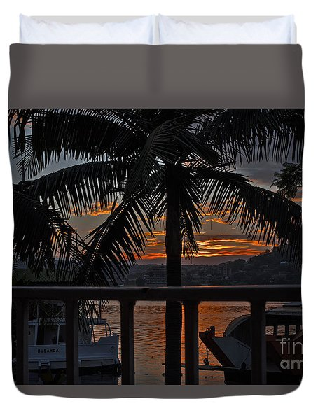 Duvet Cover featuring the photograph Sunset In Mwanza by Pravine Chester