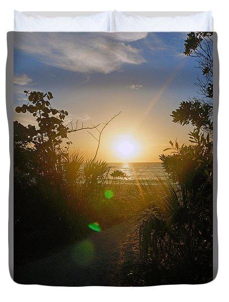 Sunset In Naples At Barefoot Beach Duvet Cover