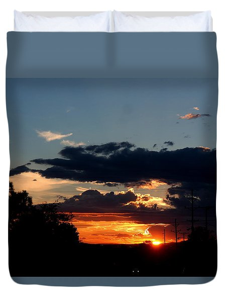Duvet Cover featuring the photograph Sunset In Oil Santa Fe New Mexico by Diana Mary Sharpton