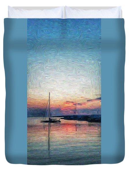 Sunset In Oil Tarpaulin Cove Duvet Cover