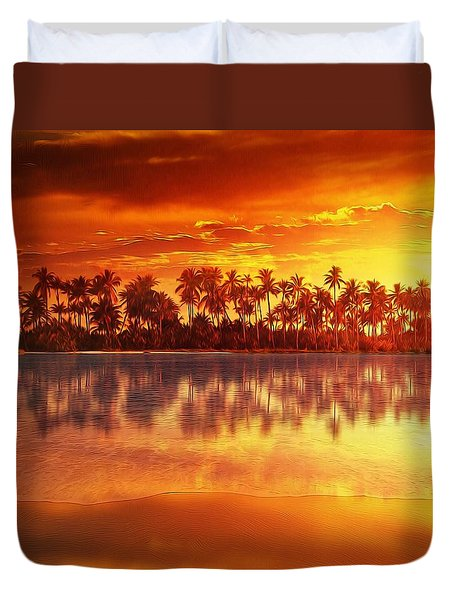 Duvet Cover featuring the mixed media Sunset In Paradise by Gabriella Weninger - David