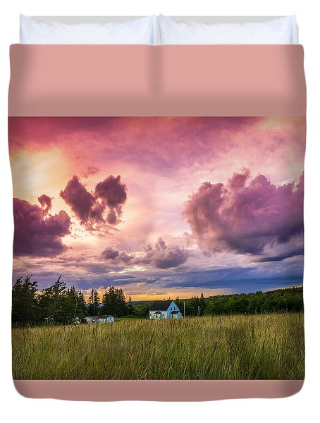 Sunset In Rear Intervale Duvet Cover by Ken Morris