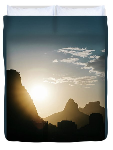 Sunset In Rio De Janeiro, Brazil Duvet Cover