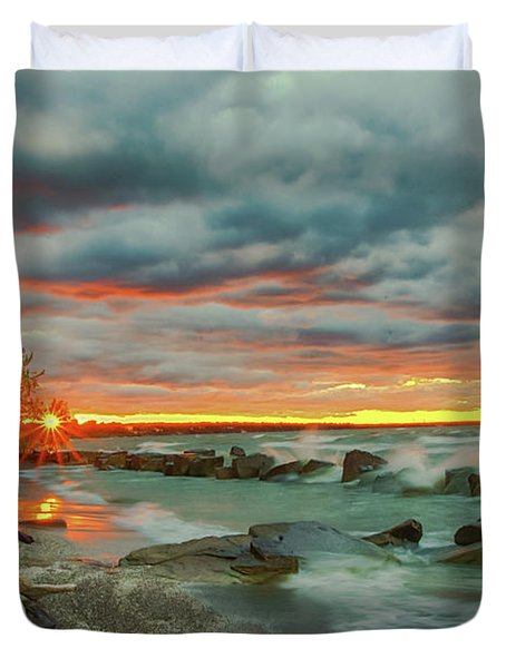 Sunset In Rocky River, Ohio Duvet Cover
