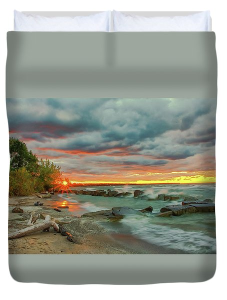 Sunset In Rocky River, Ohio Duvet Cover