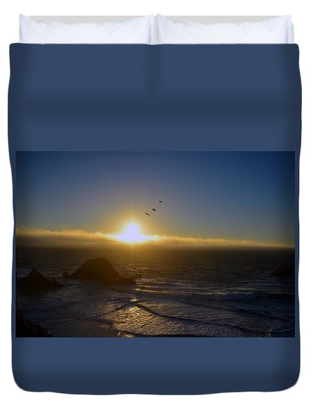 Sunset In San Francisco Duvet Cover