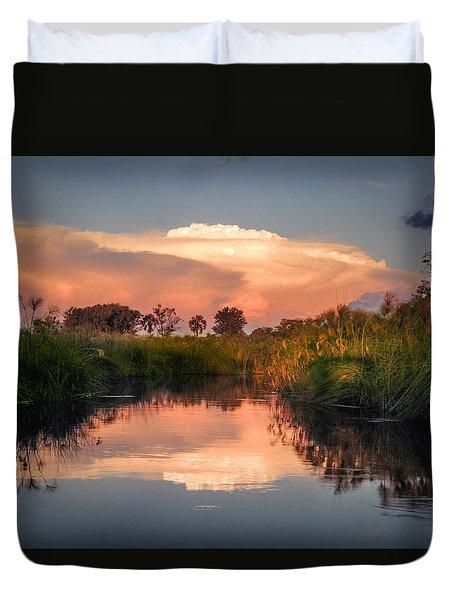 Sunset In Sandibe Botswana Duvet Cover