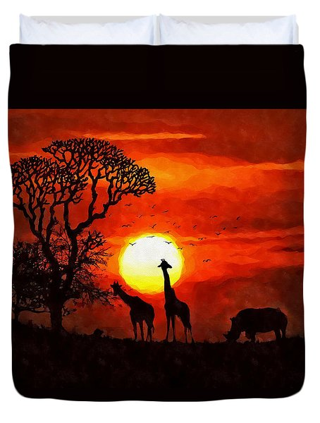 Sunset In Savannah Duvet Cover