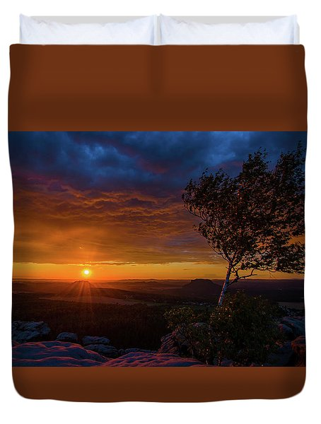 Sunset In Saxonian Switzerland Duvet Cover