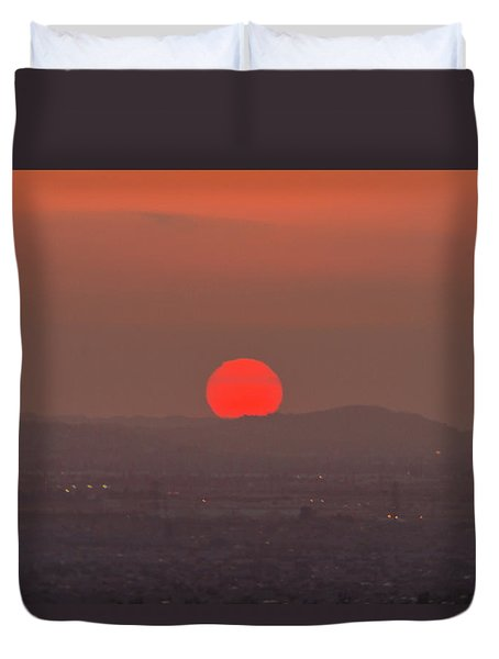 Sunset In Smog Duvet Cover