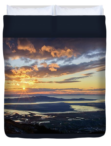 Duvet Cover featuring the photograph Sunset In The Desert by Bryan Carter