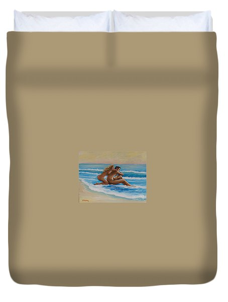 Sunset In The Beach Duvet Cover
