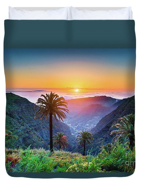 Sunset In The Canary Islands Duvet Cover by JR Photography