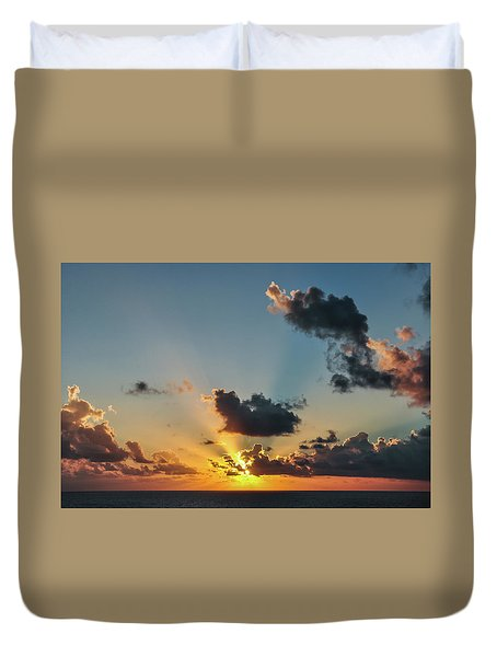 Sunset In The Caribbean Sea Duvet Cover