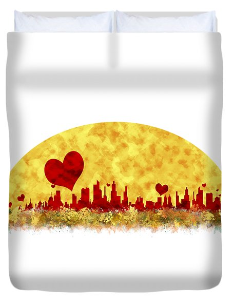 Sunset In The City Of Love Duvet Cover