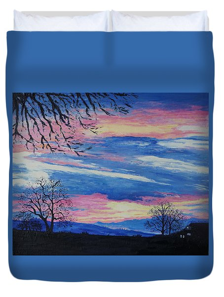 Sunset In The Country Duvet Cover by Lisa Rose Musselwhite