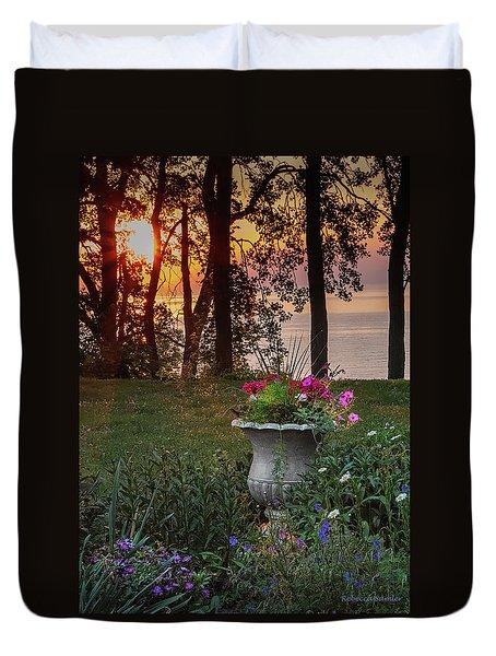 Sunset In The Flowers Duvet Cover