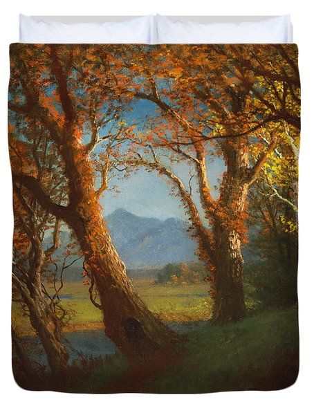 Sunset In The Nebraska Territory Duvet Cover by Albert Bierstadt