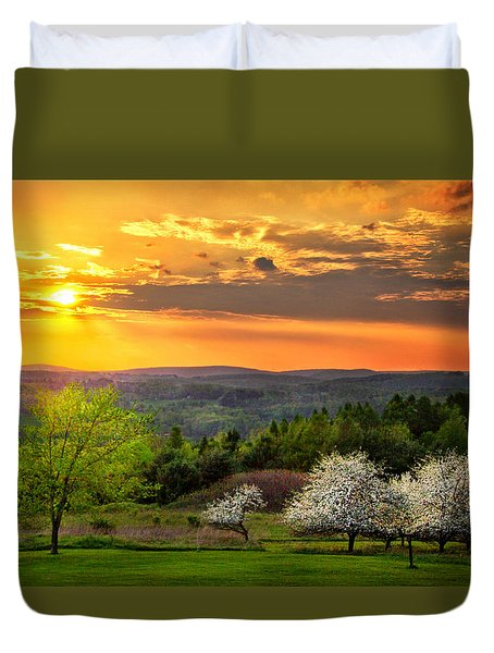 Sunset In Tioga County Pa Duvet Cover