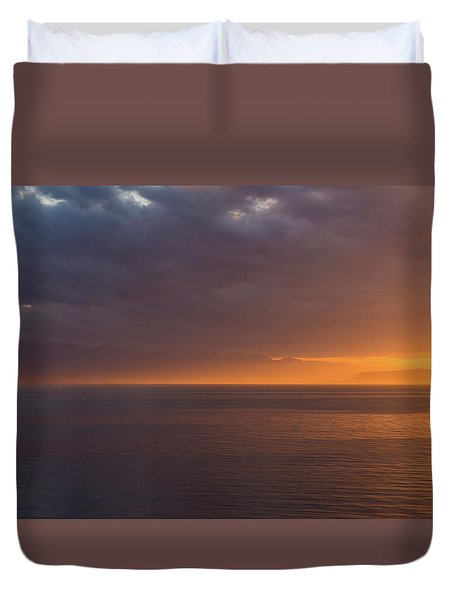 Duvet Cover featuring the photograph Sunset In Tracey Arm by Brenda Jacobs