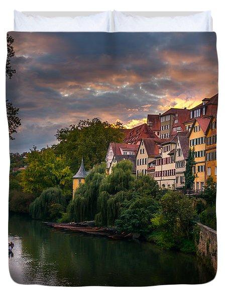 Sunset In Tubingen Duvet Cover