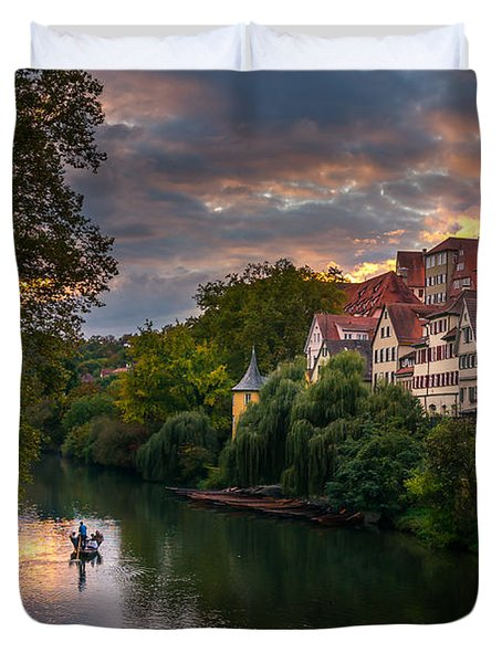 Sunset In Tubingen Duvet Cover by Dmytro Korol