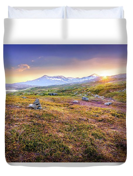 Duvet Cover featuring the photograph Sunset In Tundra by Dmytro Korol