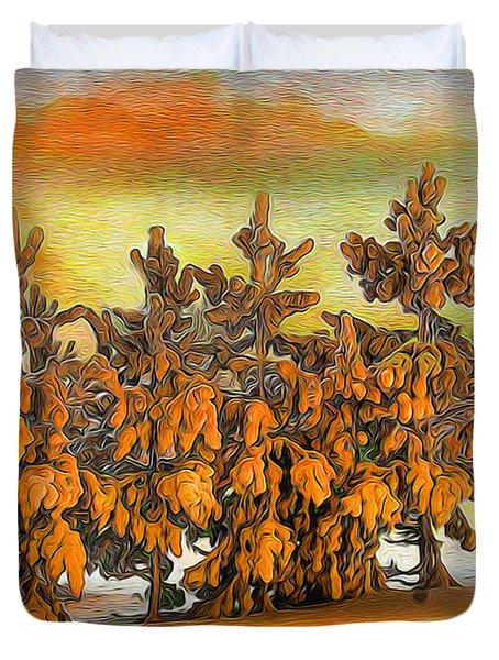 Sunset In Winter Duvet Cover