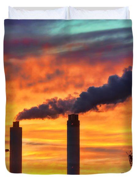 Sunset Industry Duvet Cover by Nadia Sanowar
