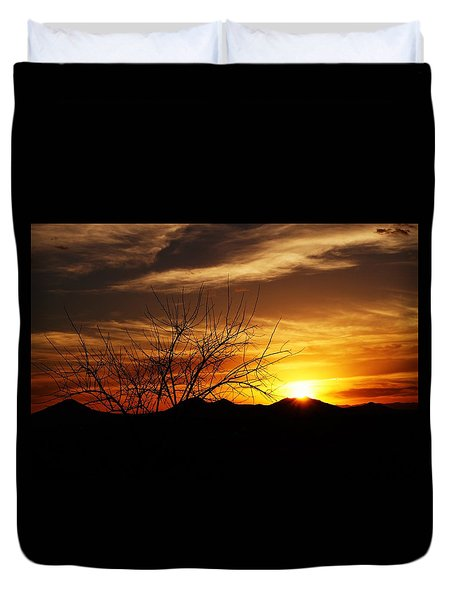 Duvet Cover featuring the photograph Sunset by Joseph Frank Baraba