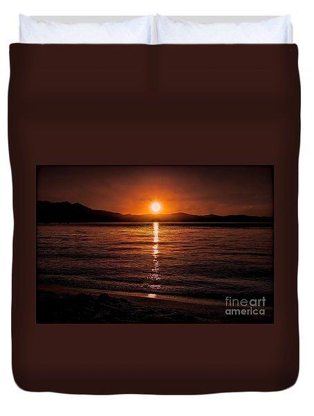 Sunset Lake 810pm Textured Duvet Cover