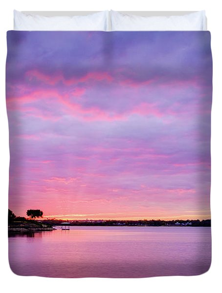 Sunset Lake Arlington Texas Duvet Cover