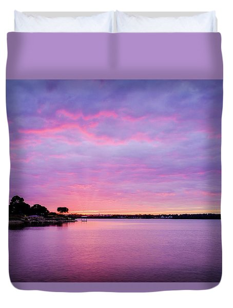 Sunset Lake Arlington Texas Duvet Cover