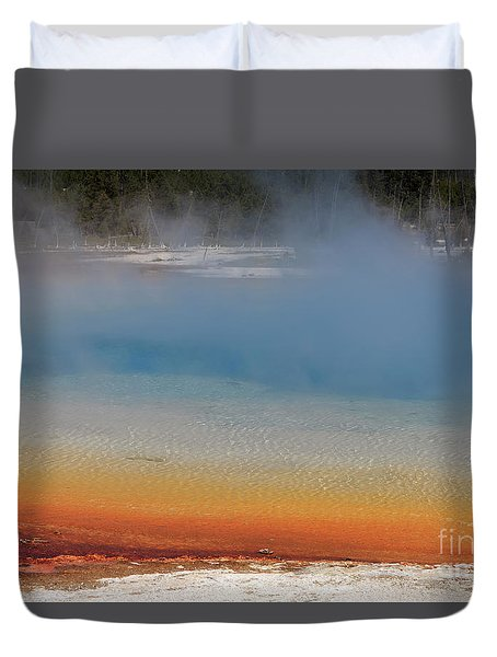 Sunset Lake In Black Sand Basin Yellowstone National Park Duvet Cover by Louise Heusinkveld