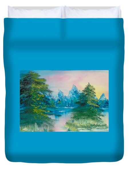 Duvet Cover featuring the painting Sunset Lake by Saundra Johnson