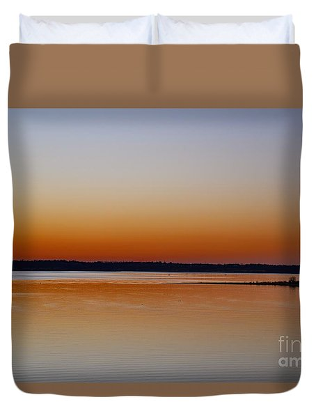 Duvet Cover featuring the photograph Sunset Lake Texhoma by Diana Mary Sharpton